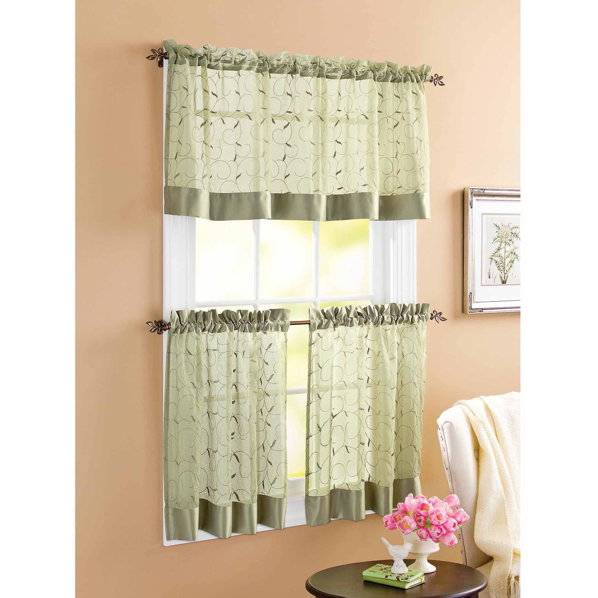 Kitchen Curtains Walmart With Regard To Sage Green Kitchen Curtains (Image 16 of 25)