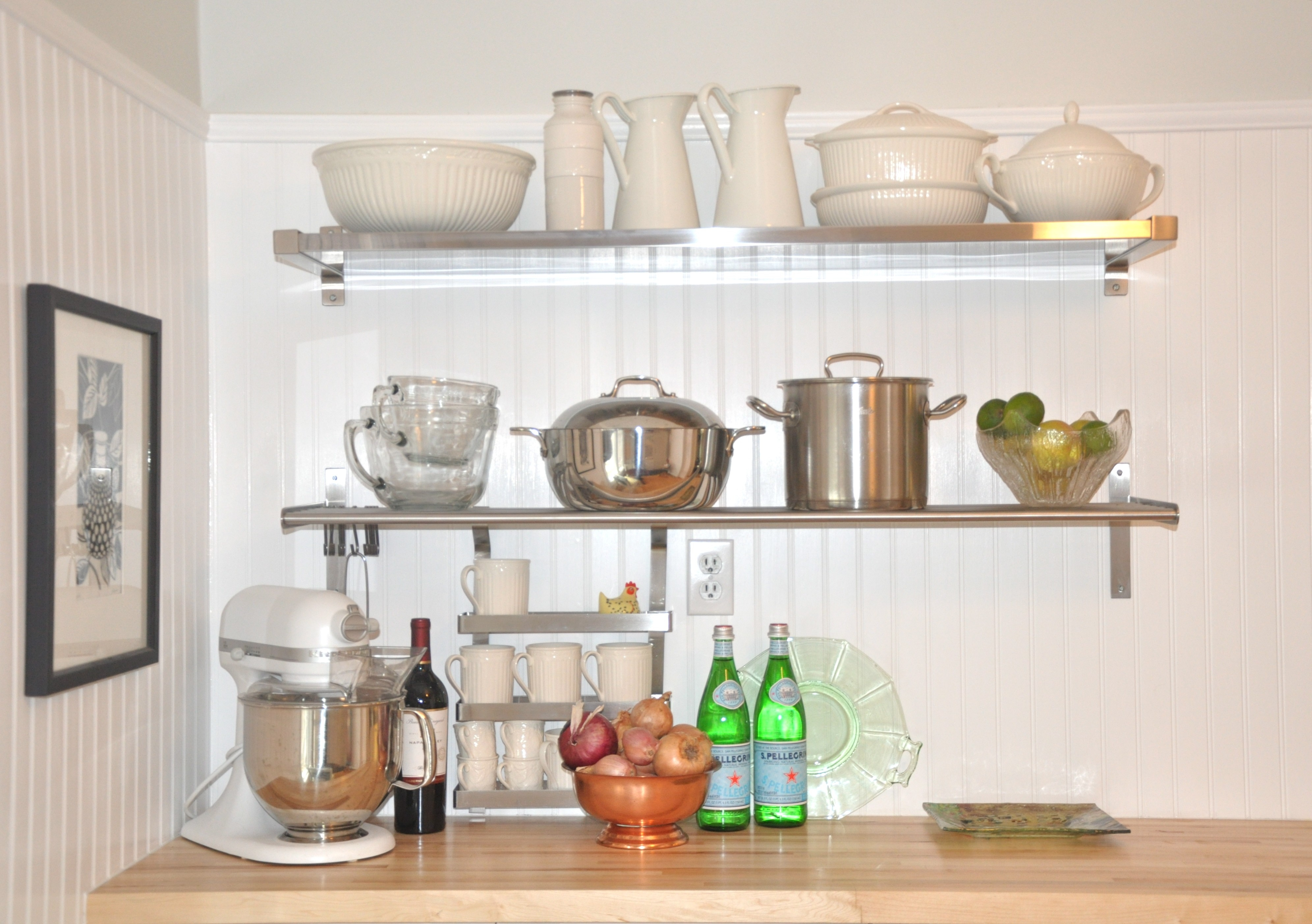 Kitchen Design Chrome Faucet Rustic Wooden Open Kitchen Shelving In Glass Kitchen Shelves (Image 6 of 15)