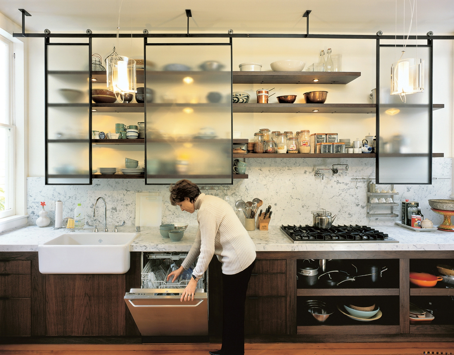 15 collection of glass kitchen shelves shelf ideas
