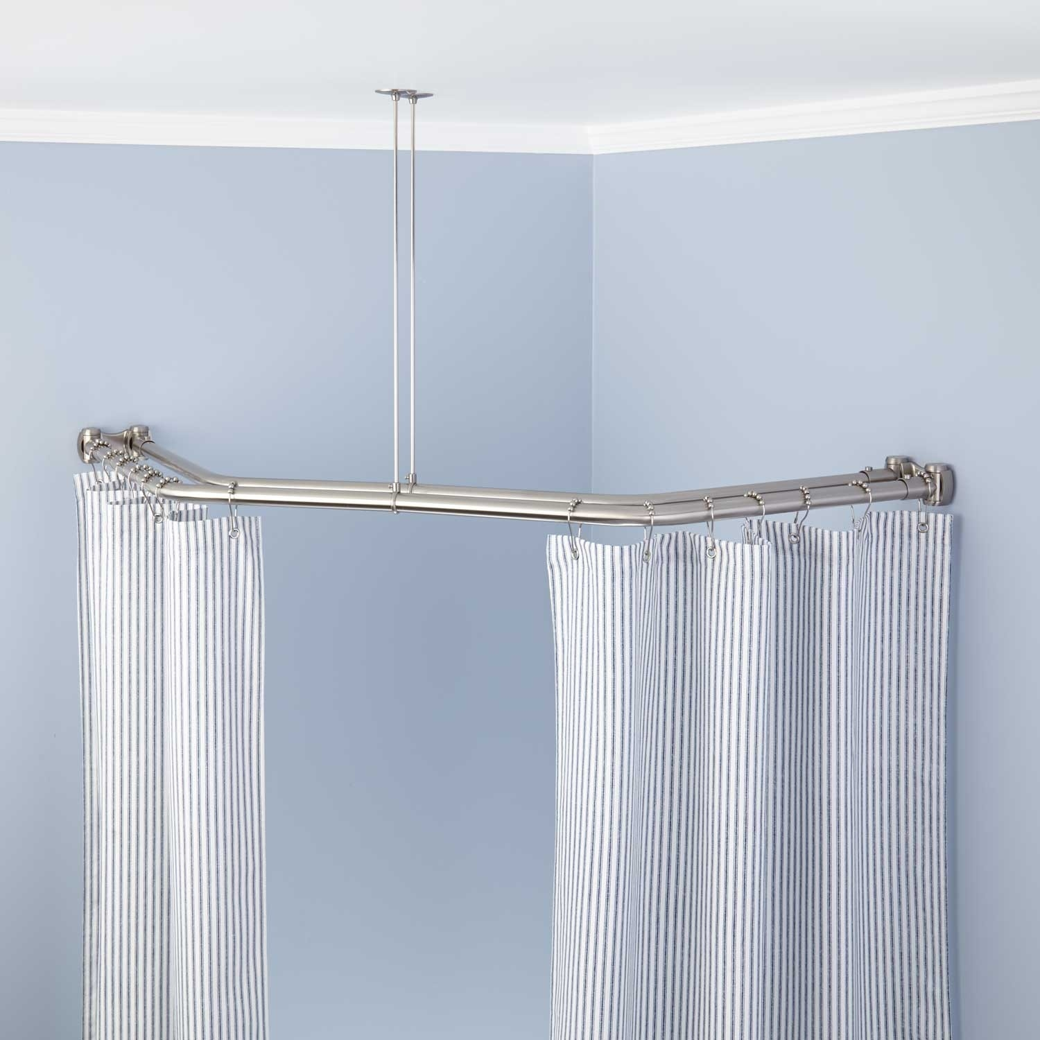 L Shaped Shower Rods Signature Hardware Within L Shaped Shower Curtain Rods (Image 20 of 25)