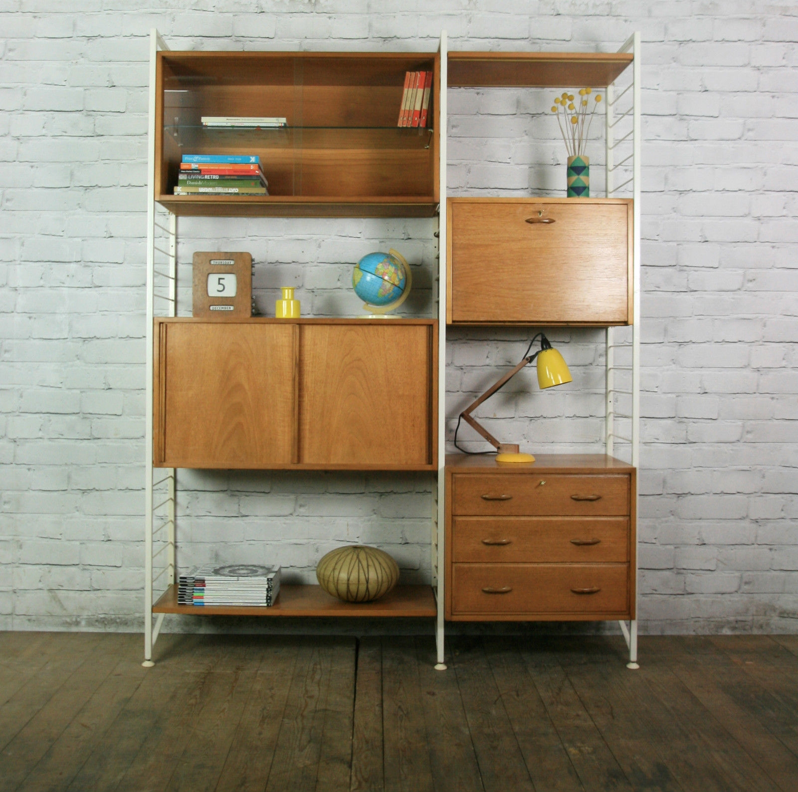 Ladderax Retro Vintage Teak Mid Century Wall Unit Shelves Office For Office Wall Cupboards (Image 7 of 15)