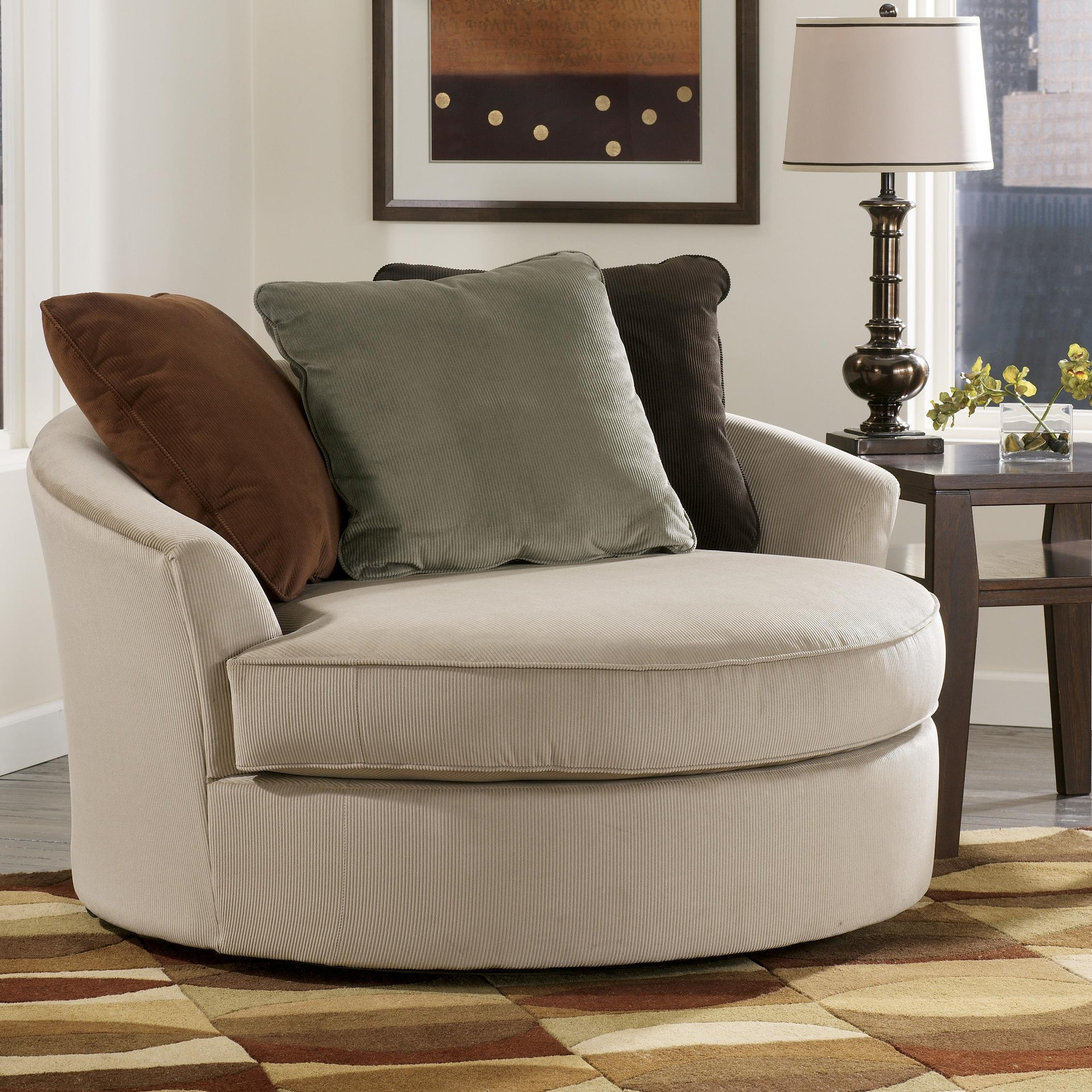 Laken Oversized Round Swivel Chair Signature Design Ashley Pertaining To Big Round Sofa Chairs (Image 8 of 15)