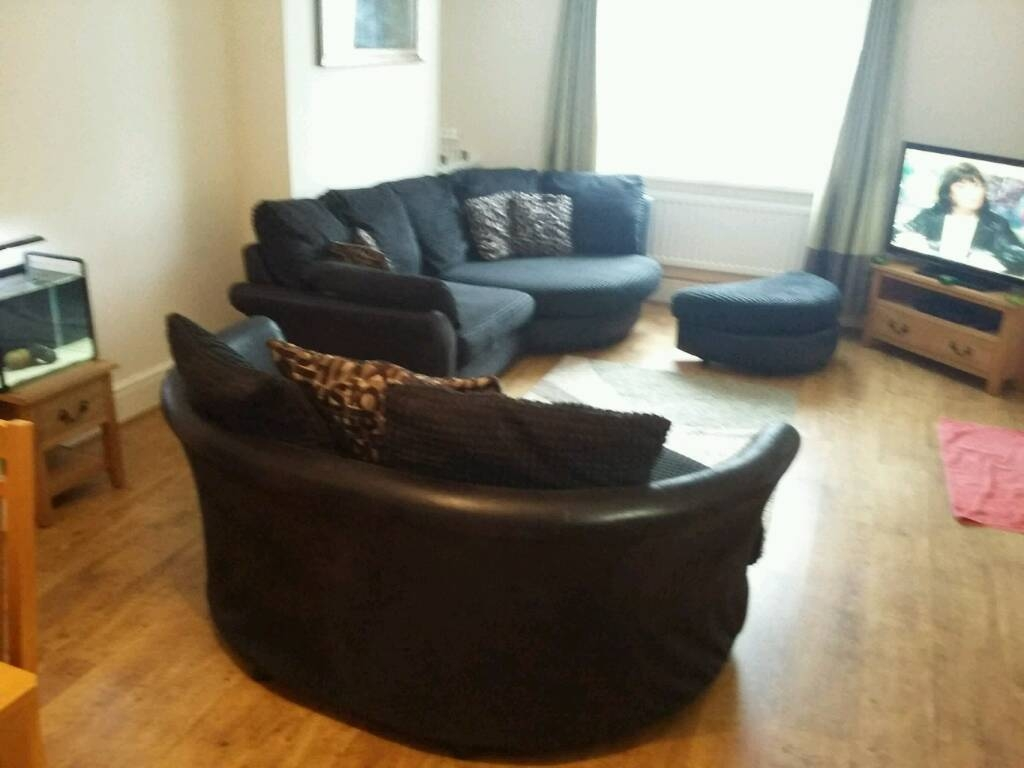 Large 3 Seater Curved Sofa And Cuddle Chair And Pouffe In Throughout 3 Seater Sofa And Cuddle Chairs (Image 8 of 15)