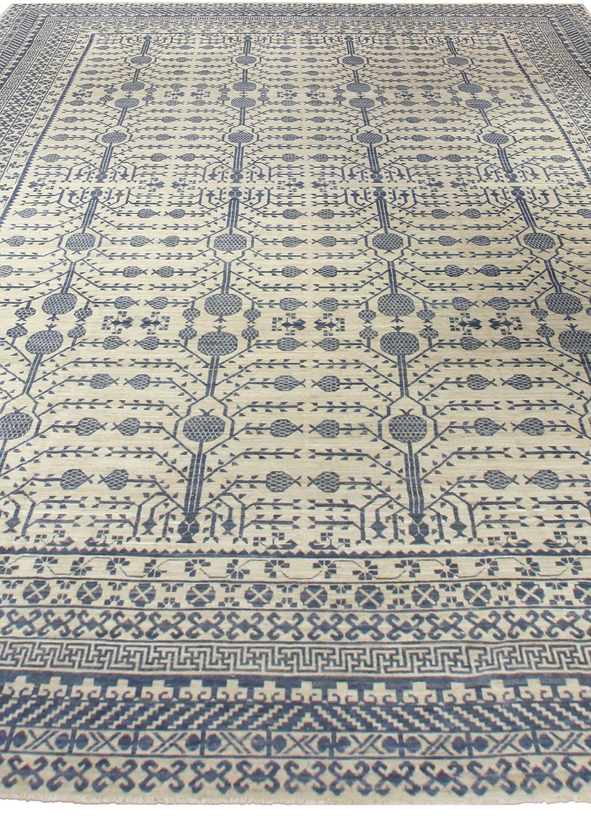 Large Blue Samarkand Rug N10668 Doris Leslie Blau In Large Geometric Rugs (Image 9 of 15)