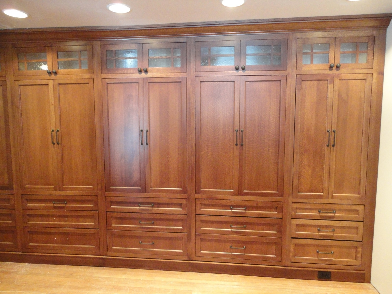 Large Brown Wooden Wardrobe With Double Doors And Drawers Placed Throughout Large Wooden Wardrobes (Image 17 of 25)