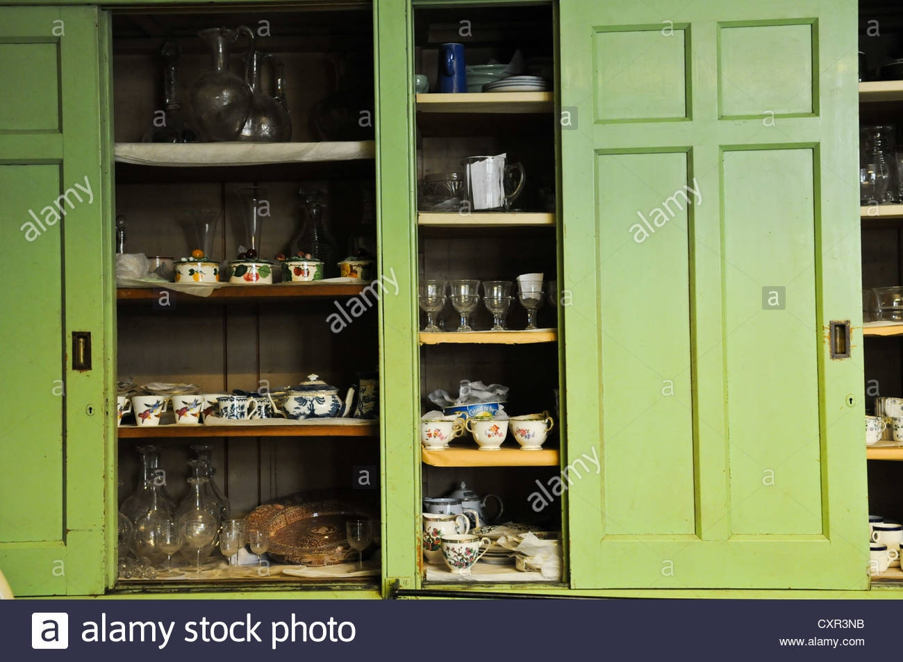 Large Green Old Fashioned Sliding Vintage English Victorian Intended For Large Cupboard With Shelves (Image 15 of 25)