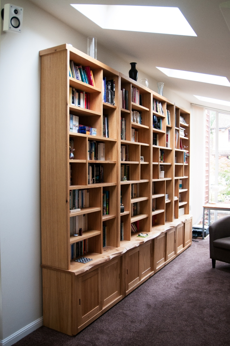 Large Oak Bookcase And Cupboards Organic Geometry Bespoke Intended For Library Cupboards (Image 6 of 15)