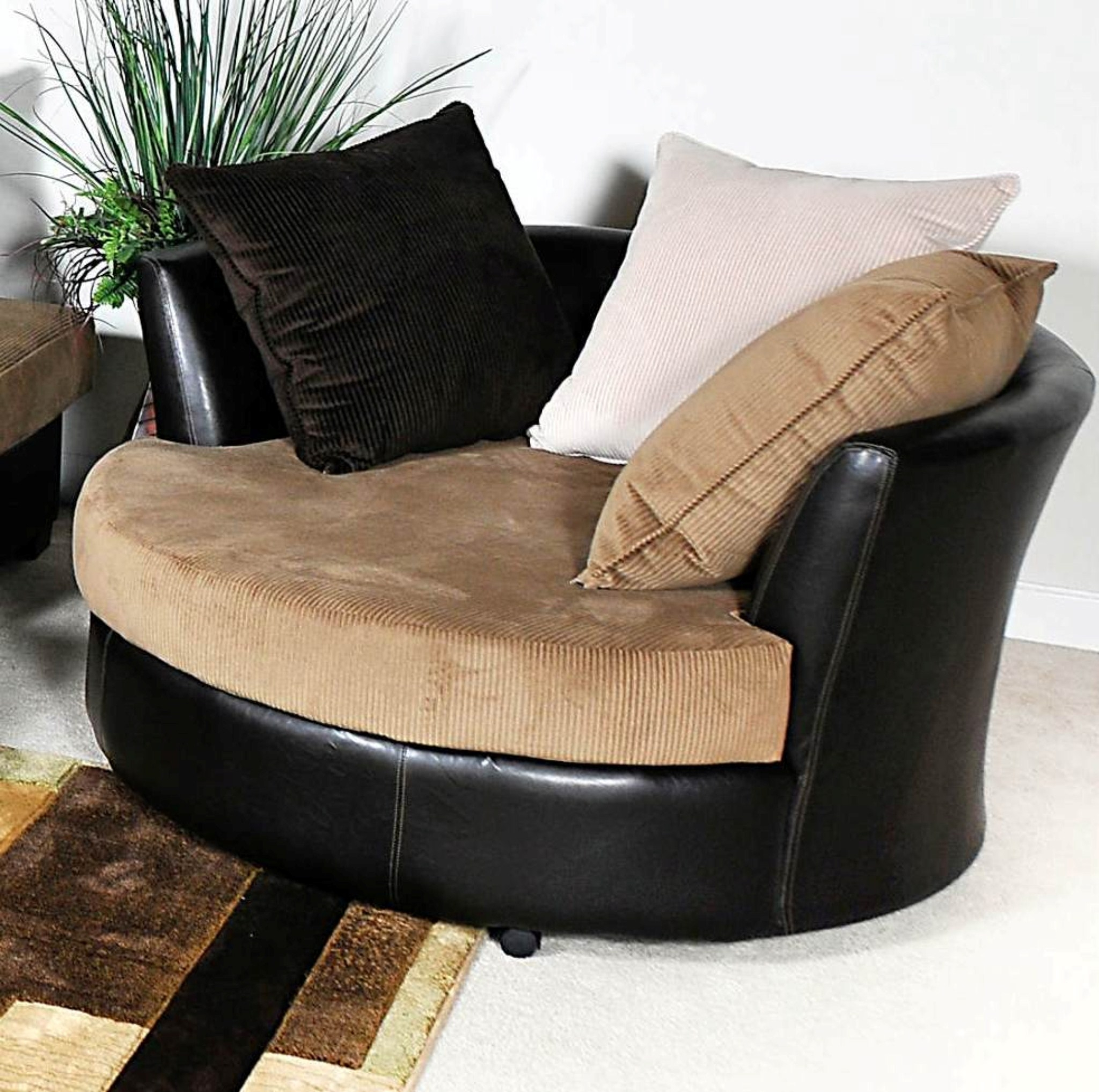 Large Round Cuddler Swivel Chair Home Chair Designs Regarding Round Swivel Sofa Chairs (Image 4 of 15)