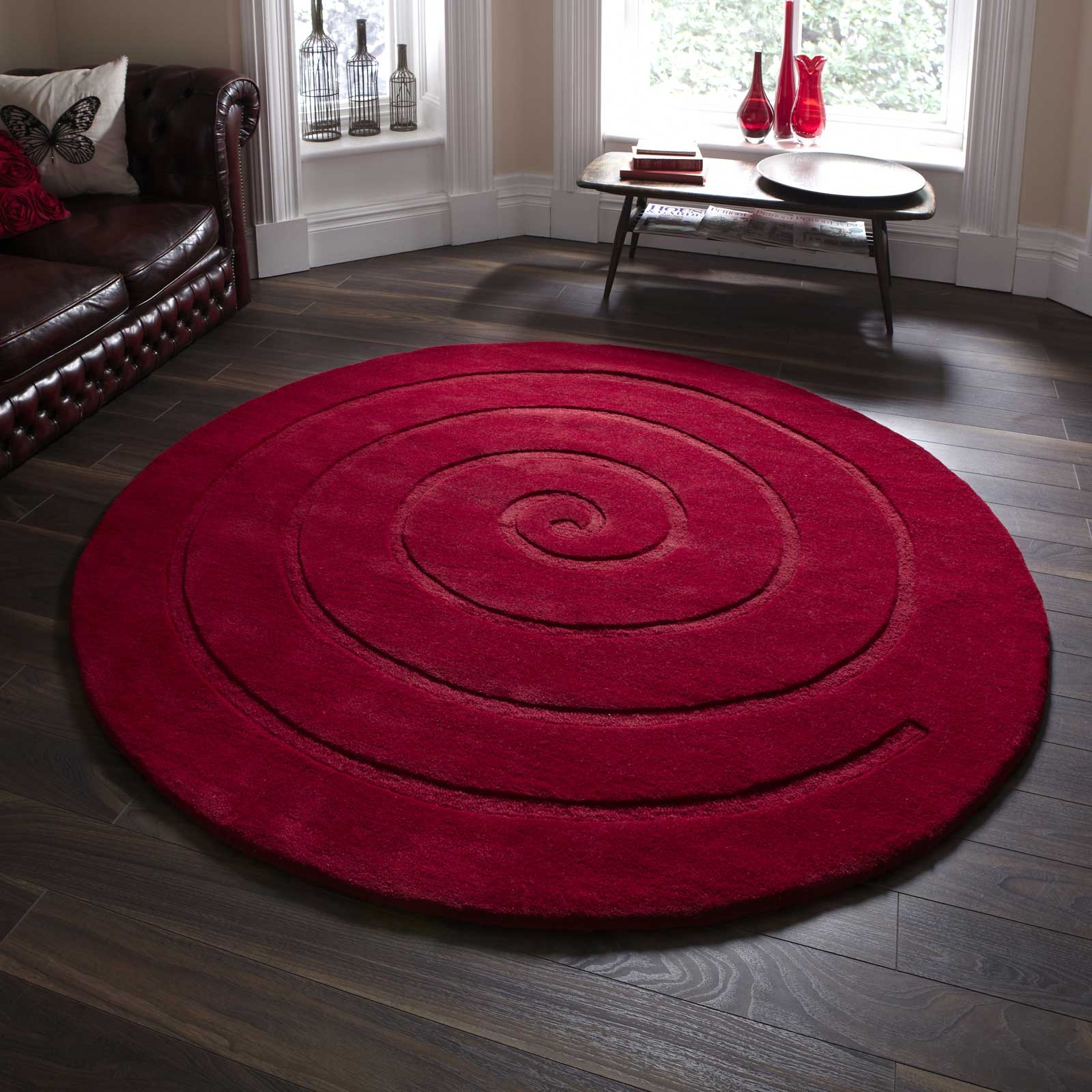 Large Round Rugs Uk Roselawnlutheran Intended For Large Red Rugs (View 13 of 15)