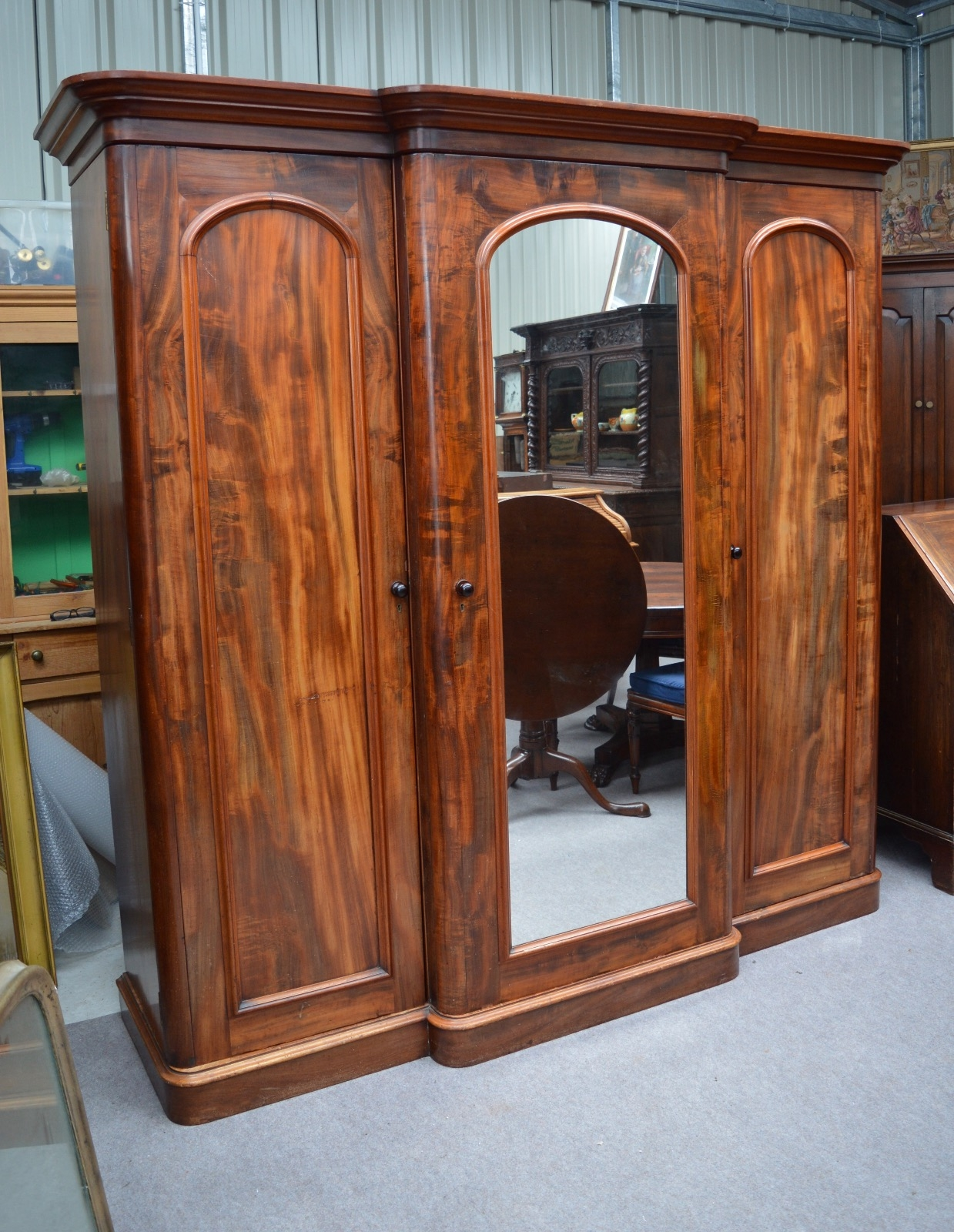 Large Victorian Mahogany Breakfront Wardrobe Compactum Triple In Breakfront Wardrobe (Image 5 of 15)