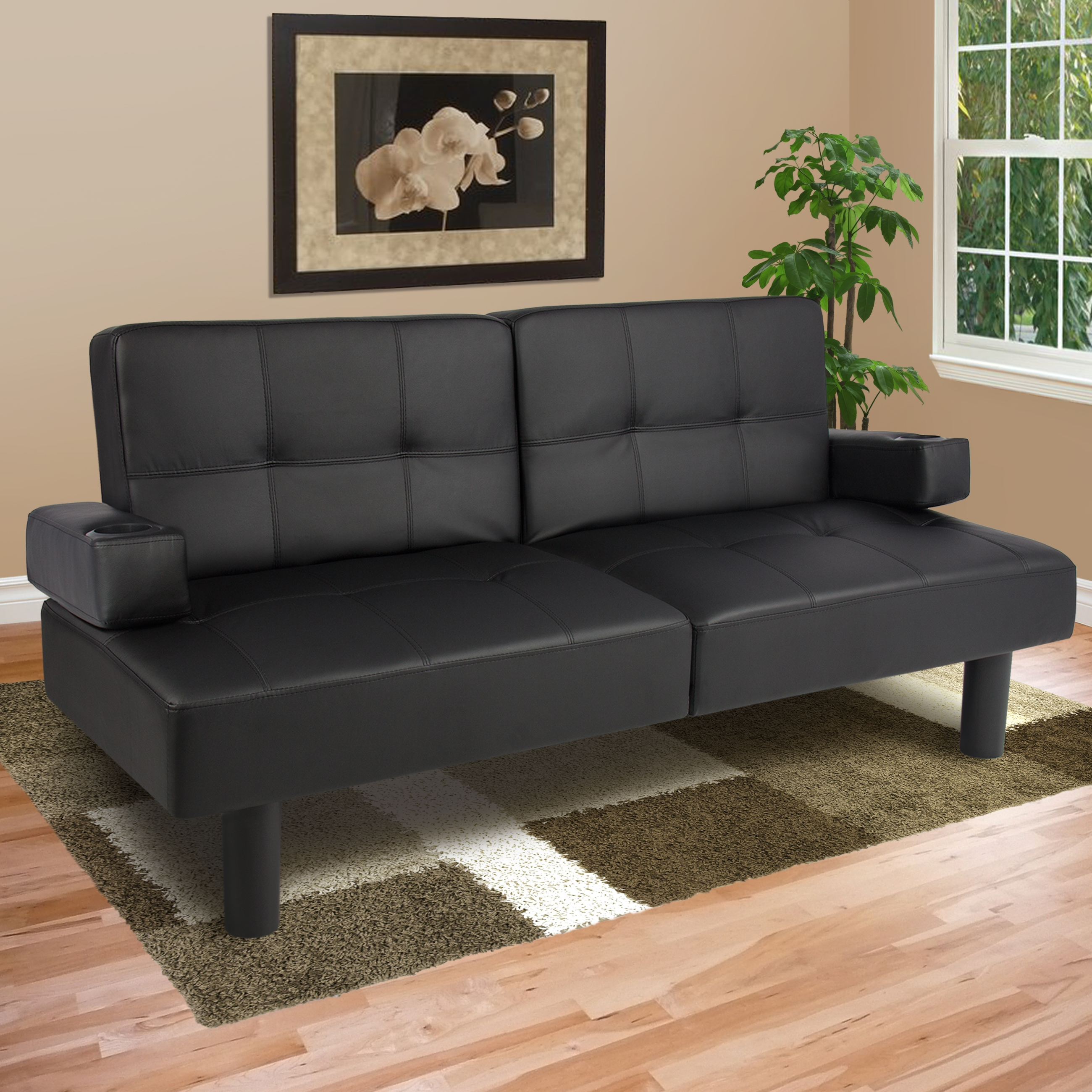 Leather Faux Fold Down Futon Sofa Bed Couch Sleeper Furniture Regarding Convertible Sofa Chair Bed (Image 8 of 15)