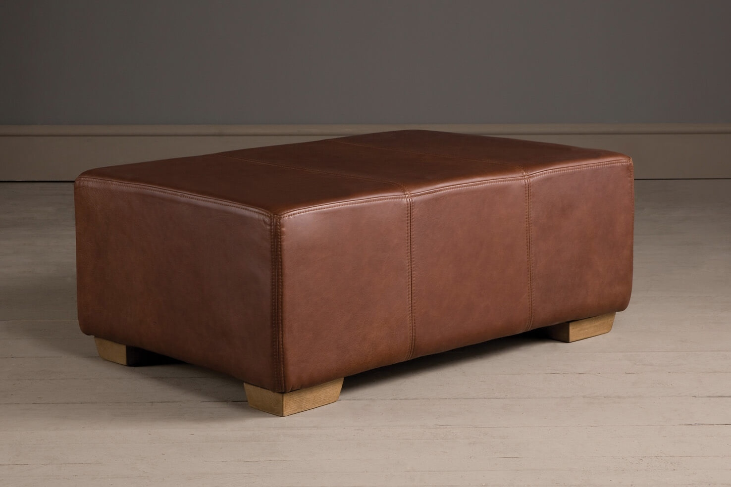 Leather Footstool Handcrafted Indigo Furniture With Regard To Leather Footstools (Image 10 of 15)