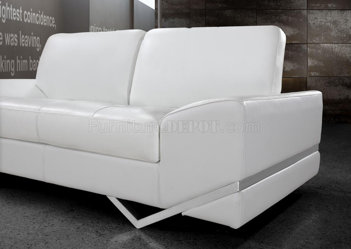 Leather Modern 3pc Sofa Loveseat Chair Set Intended For White Sofa Chairs (Image 11 of 15)