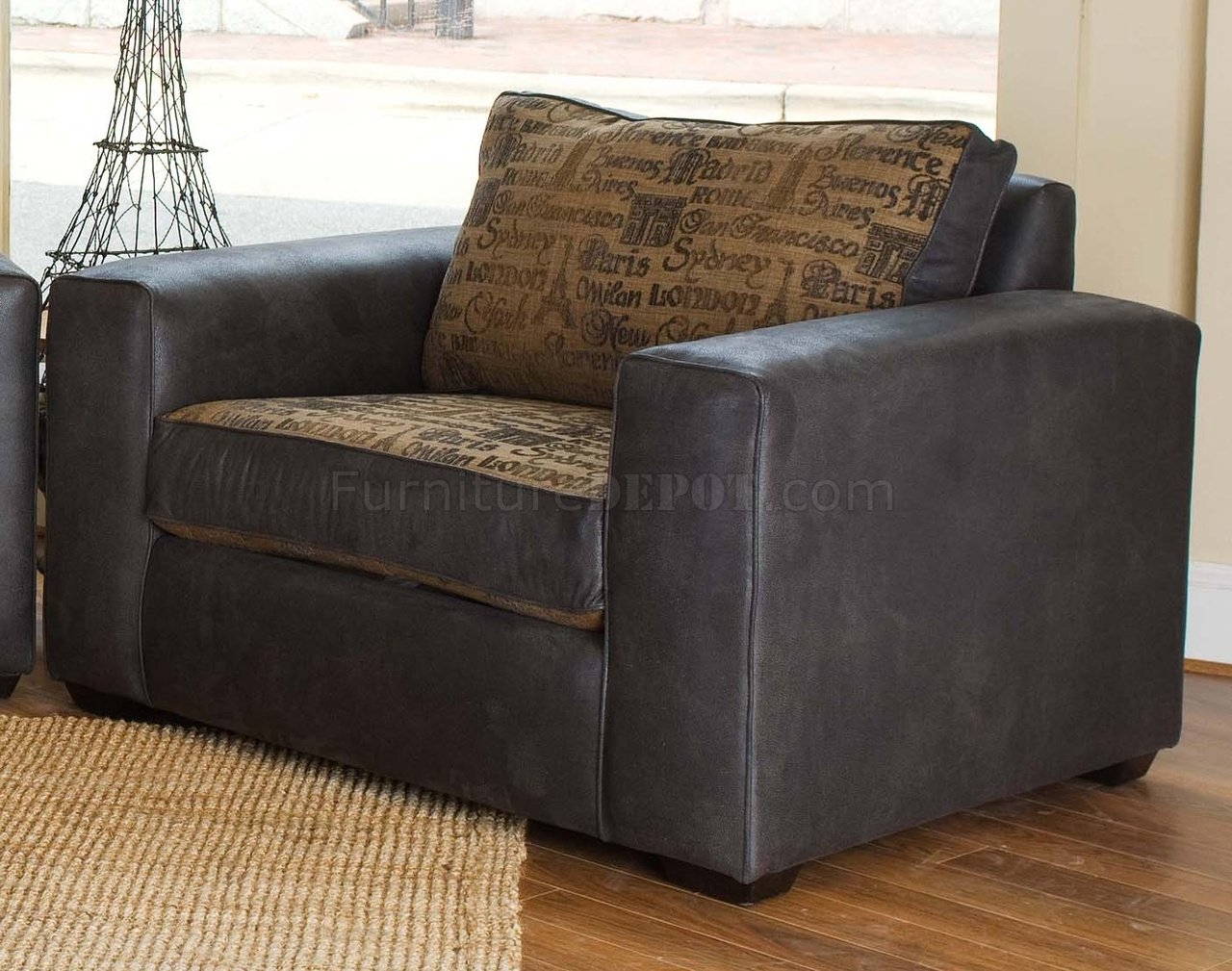 Leather Modern Living Room Sofa Large Chair Set With Regard To Large Sofa Chairs (Image 4 of 15)
