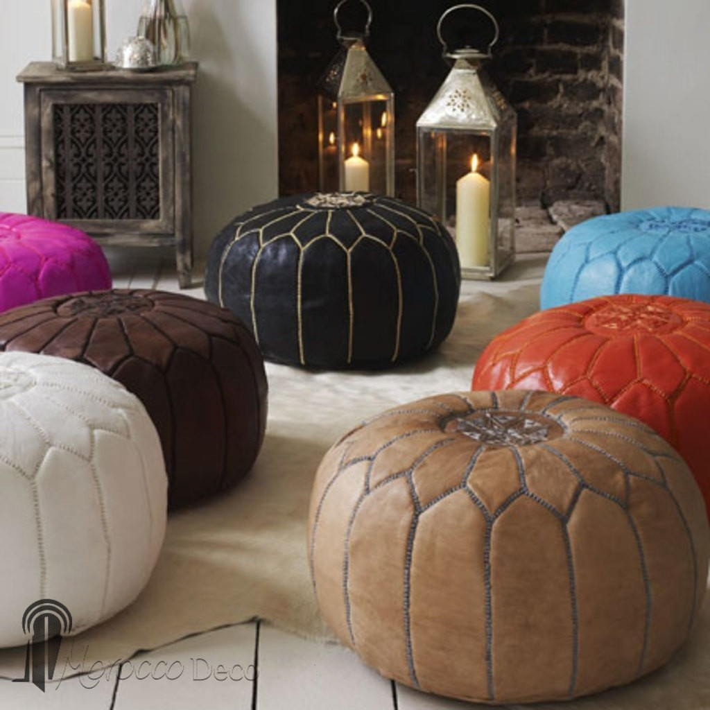 Leather Pouffe Moroccan Design Throughout Leather Footstools And Pouffes (Image 9 of 15)