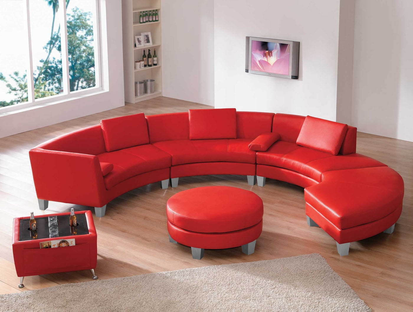 Leather Sectional Sofas Amazing 2 In 1 Modern Furniture Black With Regard To Red Sofa Chairs (Image 5 of 15)