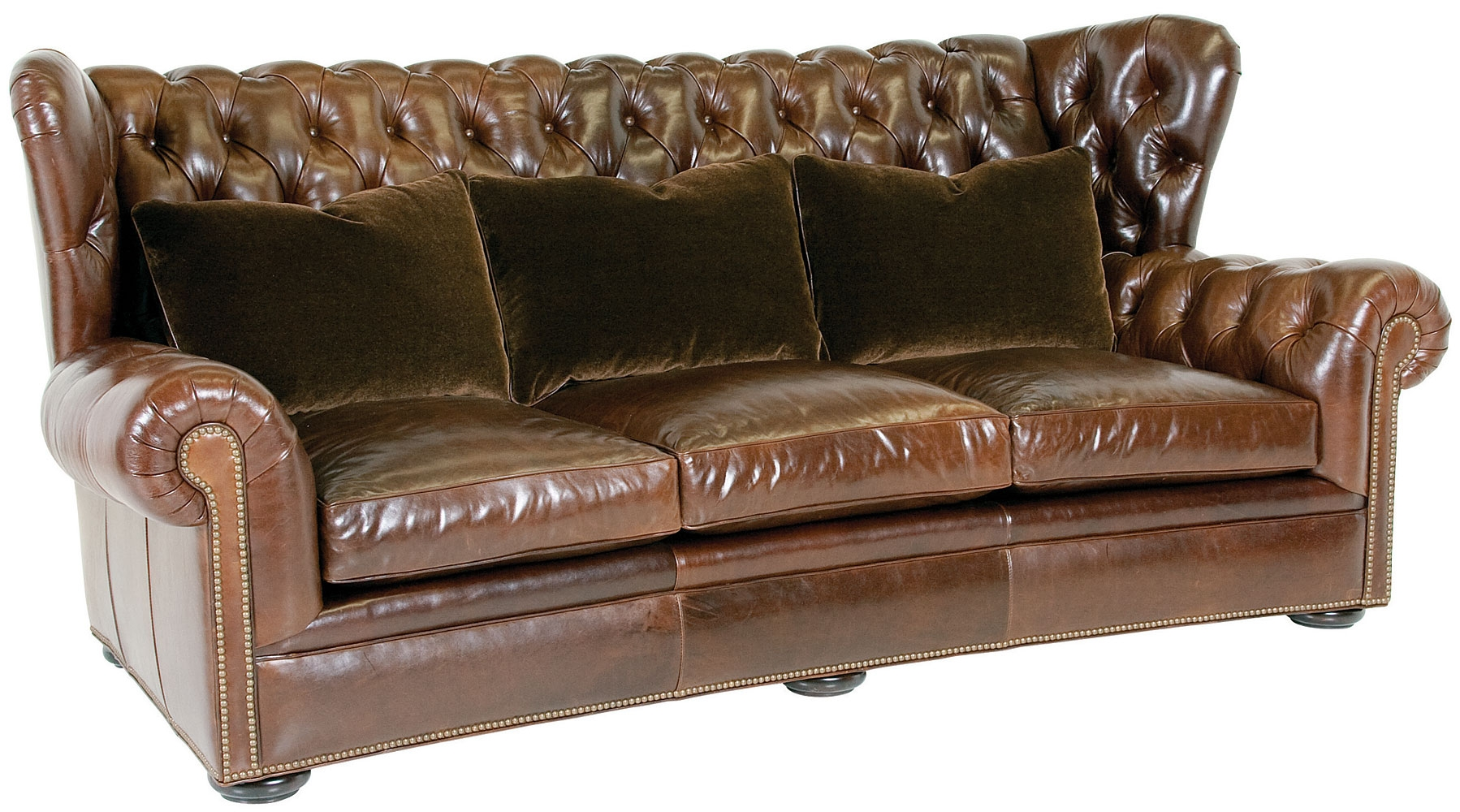 Leather Wingback Chesterfield Sofa With Nailhead Trim Club Furniture Within Chesterfield Recliners (View 7 of 15)