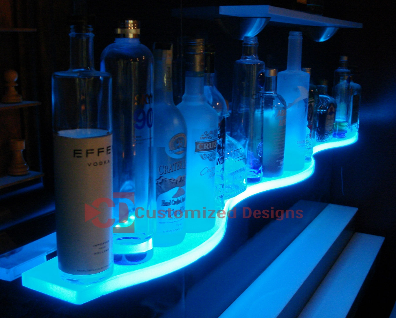 Led Glass Bar Shelves Lighted Floating Shelves Kbis Regarding Led Floating Shelves (Image 10 of 15)