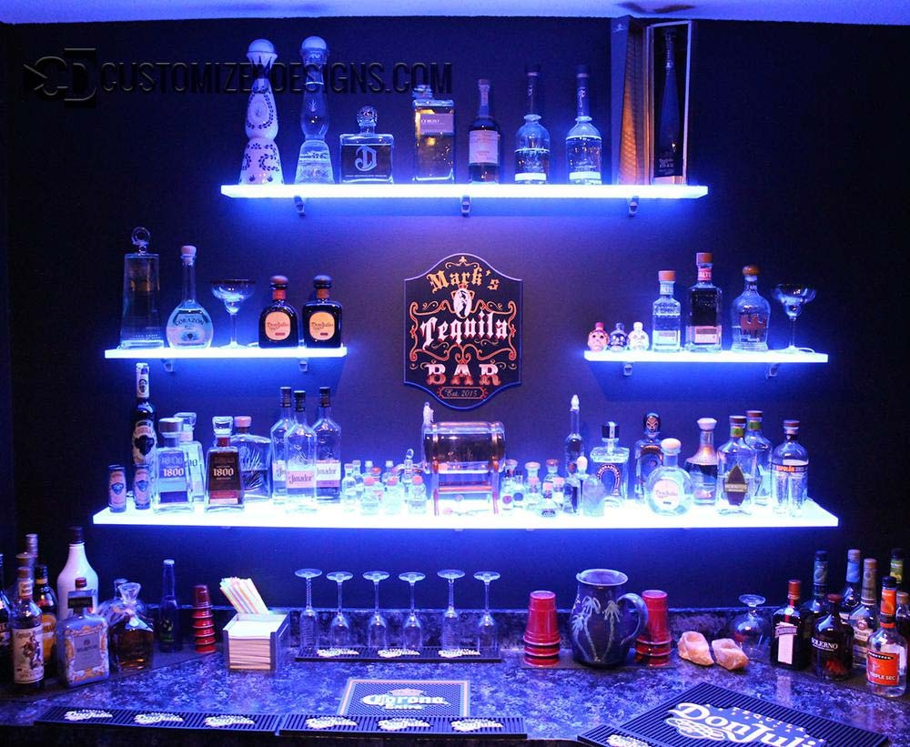 Led Lighted Shelves Back Bar Shelving For Home Bars Restaurants Throughout Led Floating Glass Shelves (Image 11 of 15)