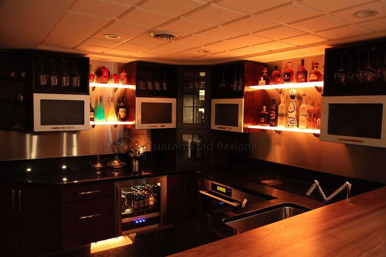 Led Lighted Shelves Back Bar Shelving For Home Bars Restaurants With Regard To Led Floating Shelves (View 6 of 15)