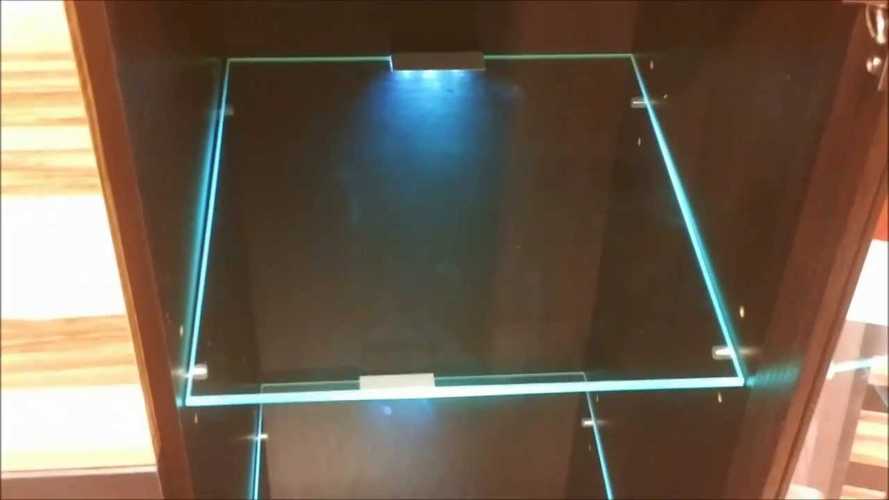 Led Lights Edge Lit Glass Cabinet Shelf Backlighting How To Intended For Glass Shelves With Lights (Image 8 of 15)