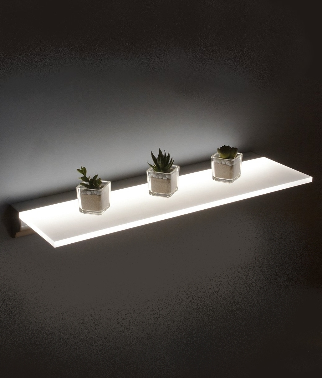 Led Opal Illuminated Shelf Two Sizes Regarding Illuminated Glass Shelf (View 2 of 15)