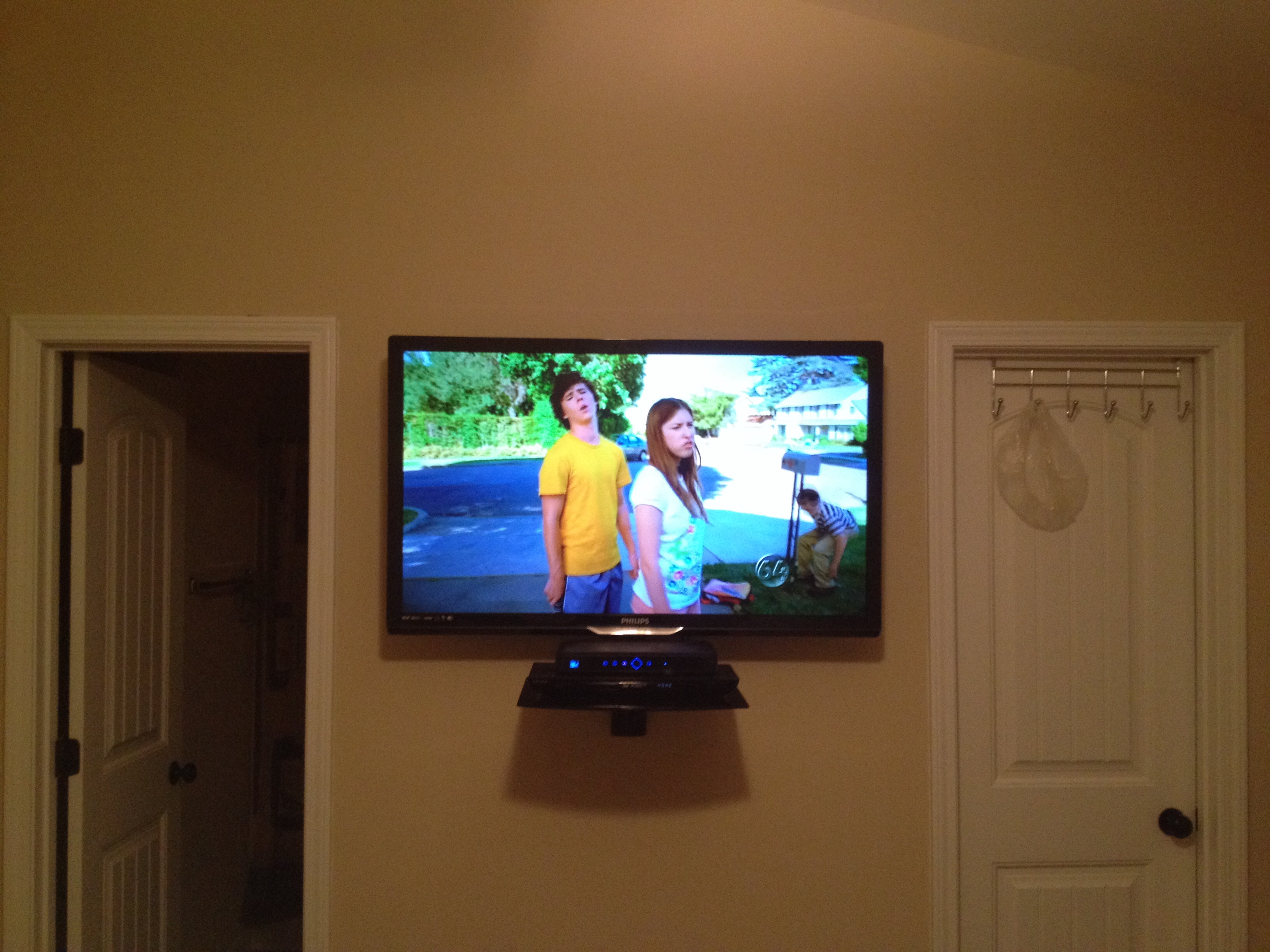 Led Tv Wall Mount Installation With Floating Glass Shelf For Cable Regarding Floating Glass Shelf For Dvd Player (Image 10 of 15)