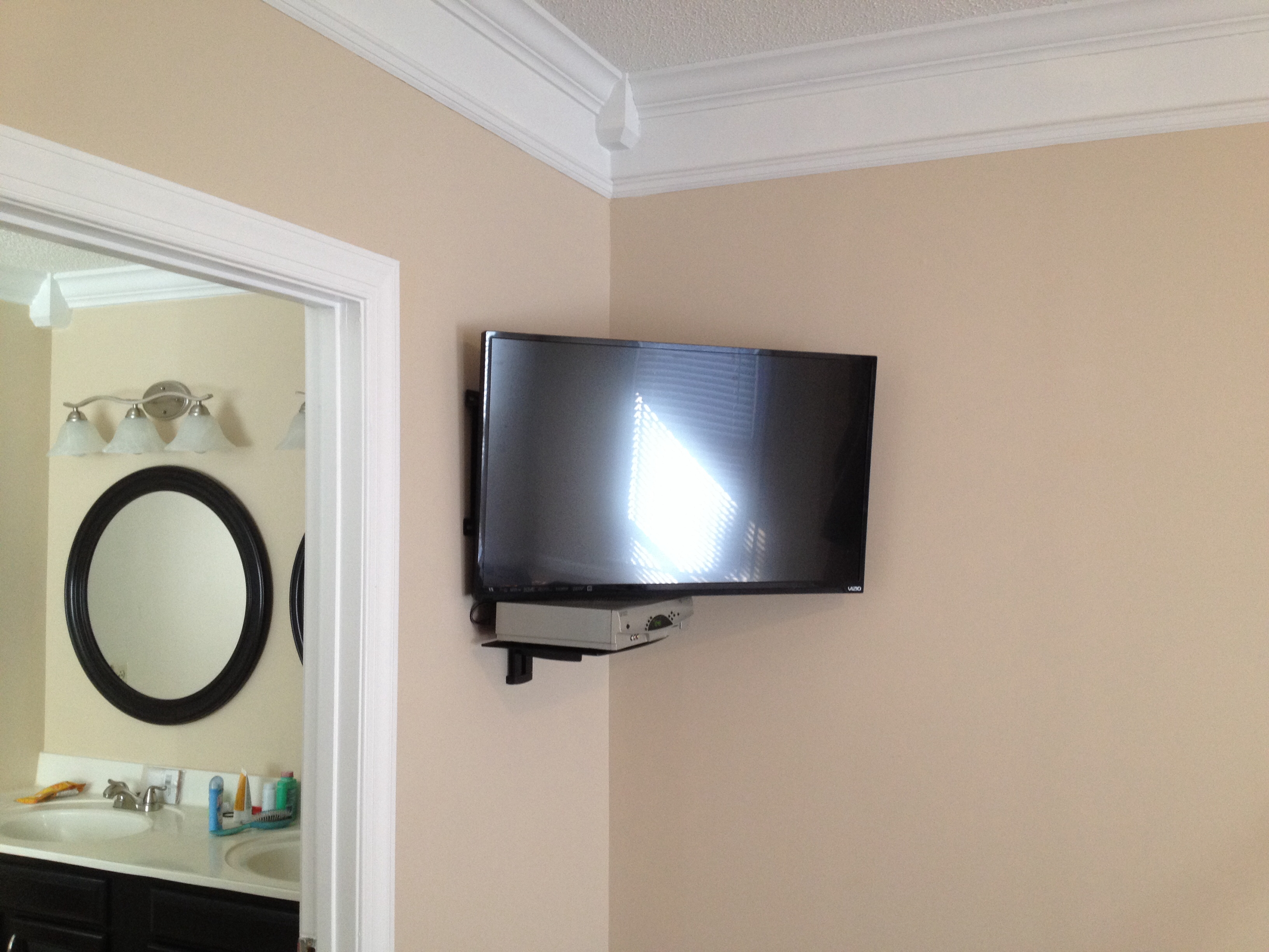 Led Tv Wall Mount Installation With Floating Glass Shelf For Cable Within Corner Shelf For Dvd Player On Wall (Image 10 of 15)