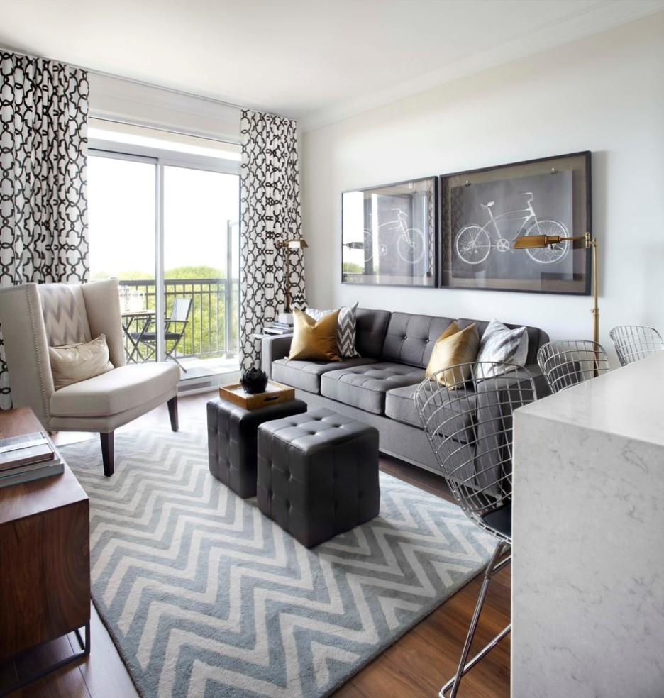 Light Grey Chevron Rug Of Black Tufted Cube Ottomans Toward Grey 3 Throughout Black And Grey Chevron Rugs (Image 13 of 15)