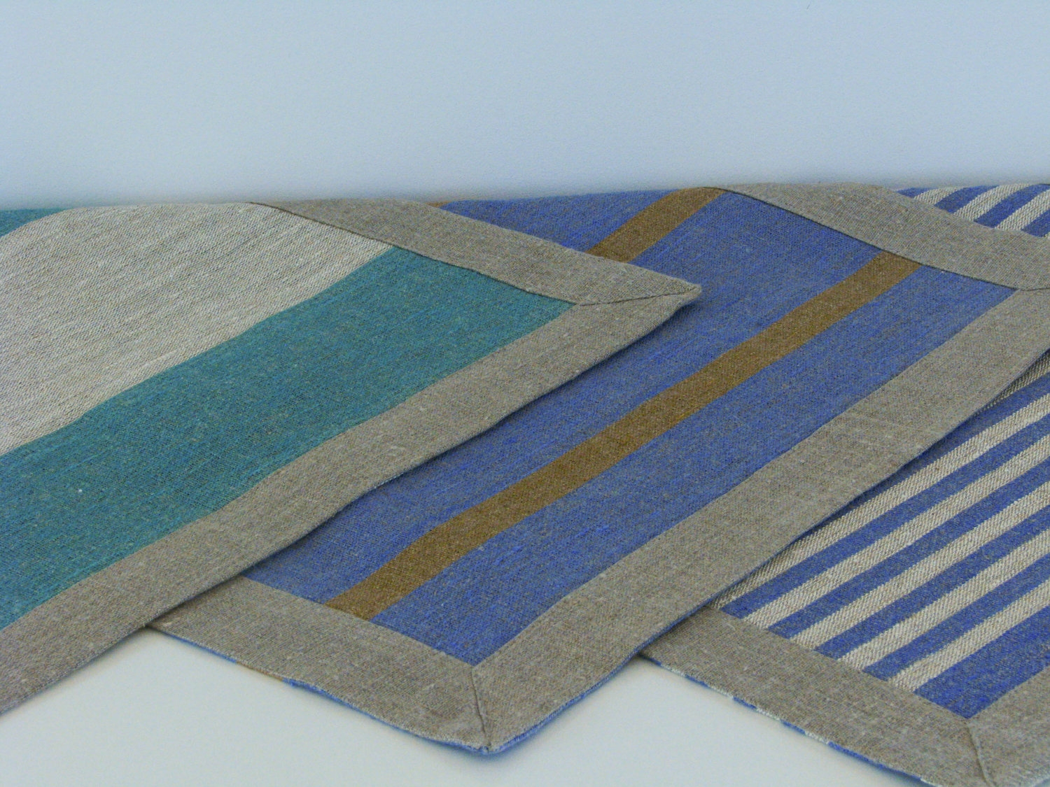 Linen Bath Mat Bath Rug Striped Blue Green Brown Or Pertaining To Striped Mats (View 6 of 15)