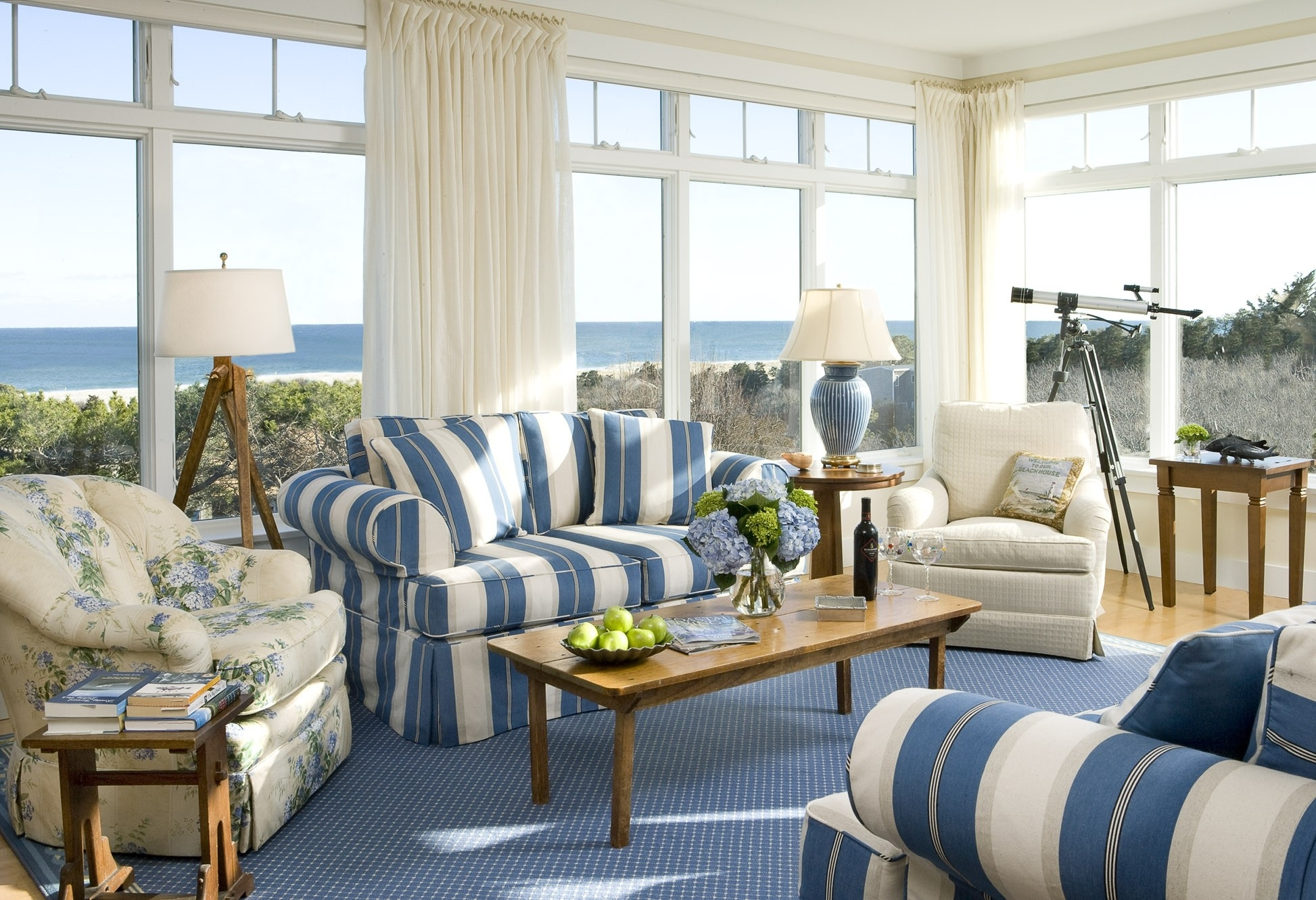 Living Room Endearing Blue Velvet Fabric Lose Sofa Living Room Throughout Striped Sofas And Chairs (Image 10 of 15)