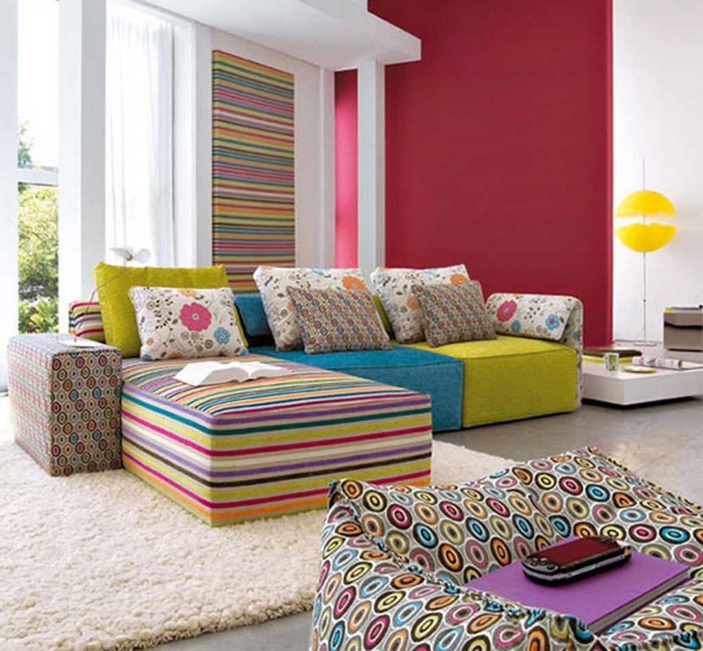 Living Room Sofa Classic Table Lamp Table Sets Colorful Pillows In Colorful Sofas And Chairs (Image 9 of 15)