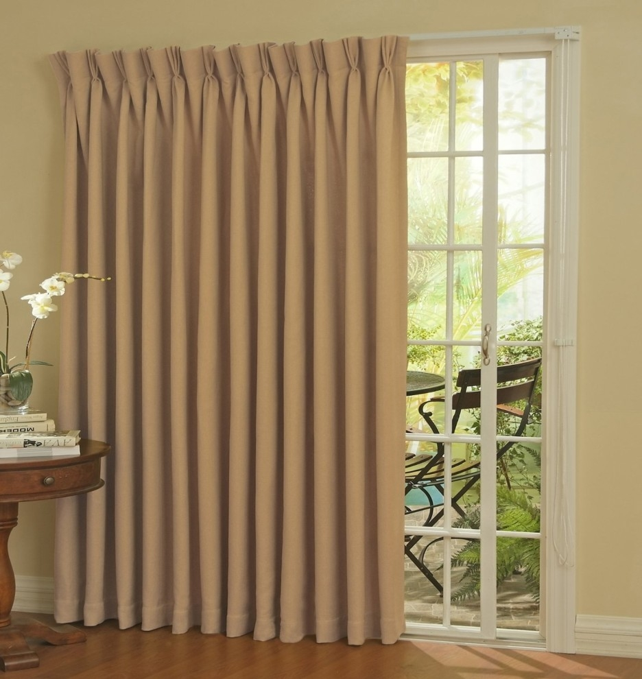 Long Cream Curving Fabric Curtains For Glass Doors With White Pertaining To Fabric Door Curtains (Image 20 of 25)