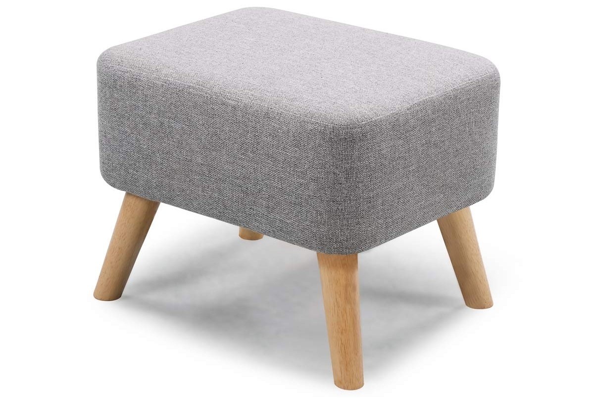 Longdon Modern Fabric Armchair With Matching Ottoman Footstool Throughout Fabric Footstools (Image 11 of 15)