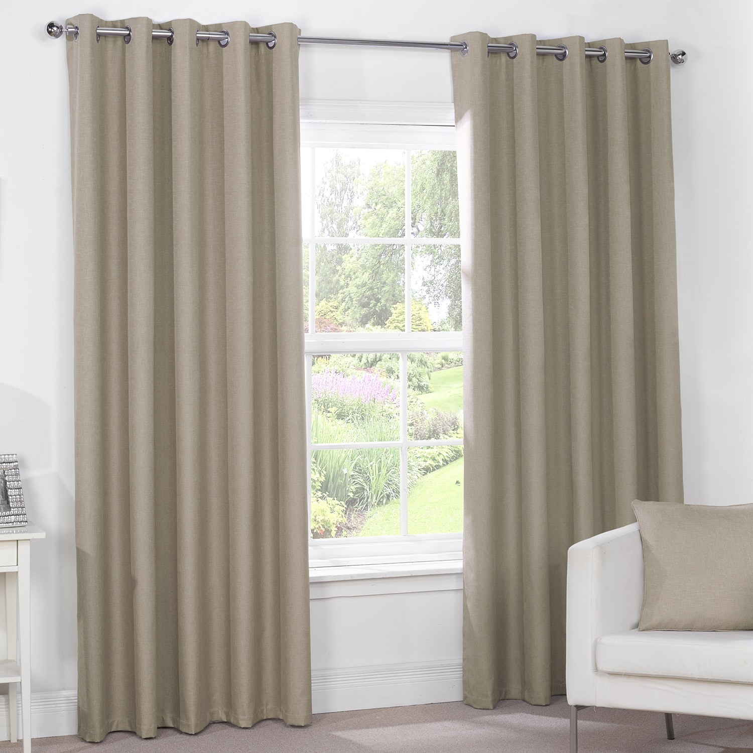 Luna Mocha Luxury Blackout Eyelet Curtains Pair Eyelet Type In Brown Eyelet Curtains (Image 15 of 25)