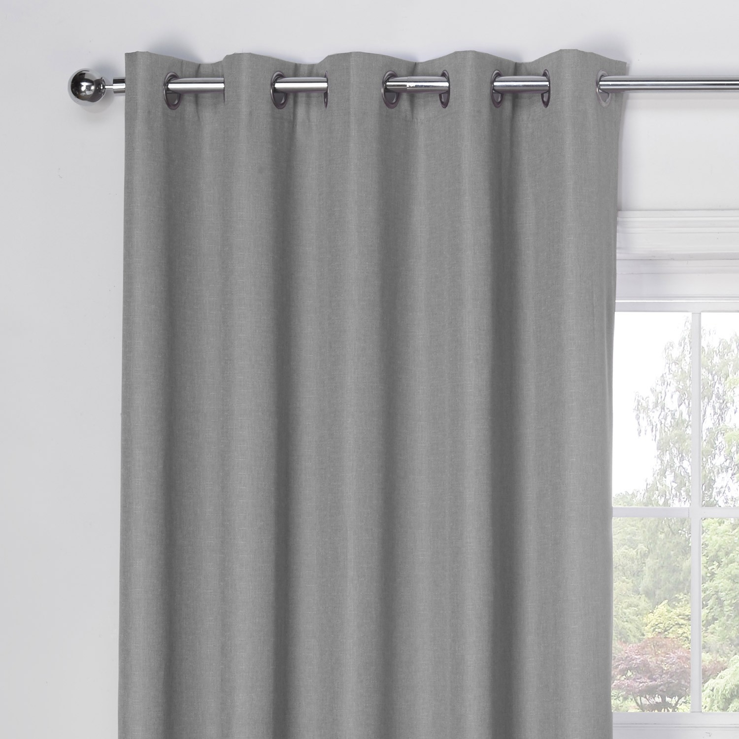 Luna Silver Grey Luxury Blackout Eyelet Curtains Pair Julian Throughout Grey Eyelet Curtains (Image 16 of 25)