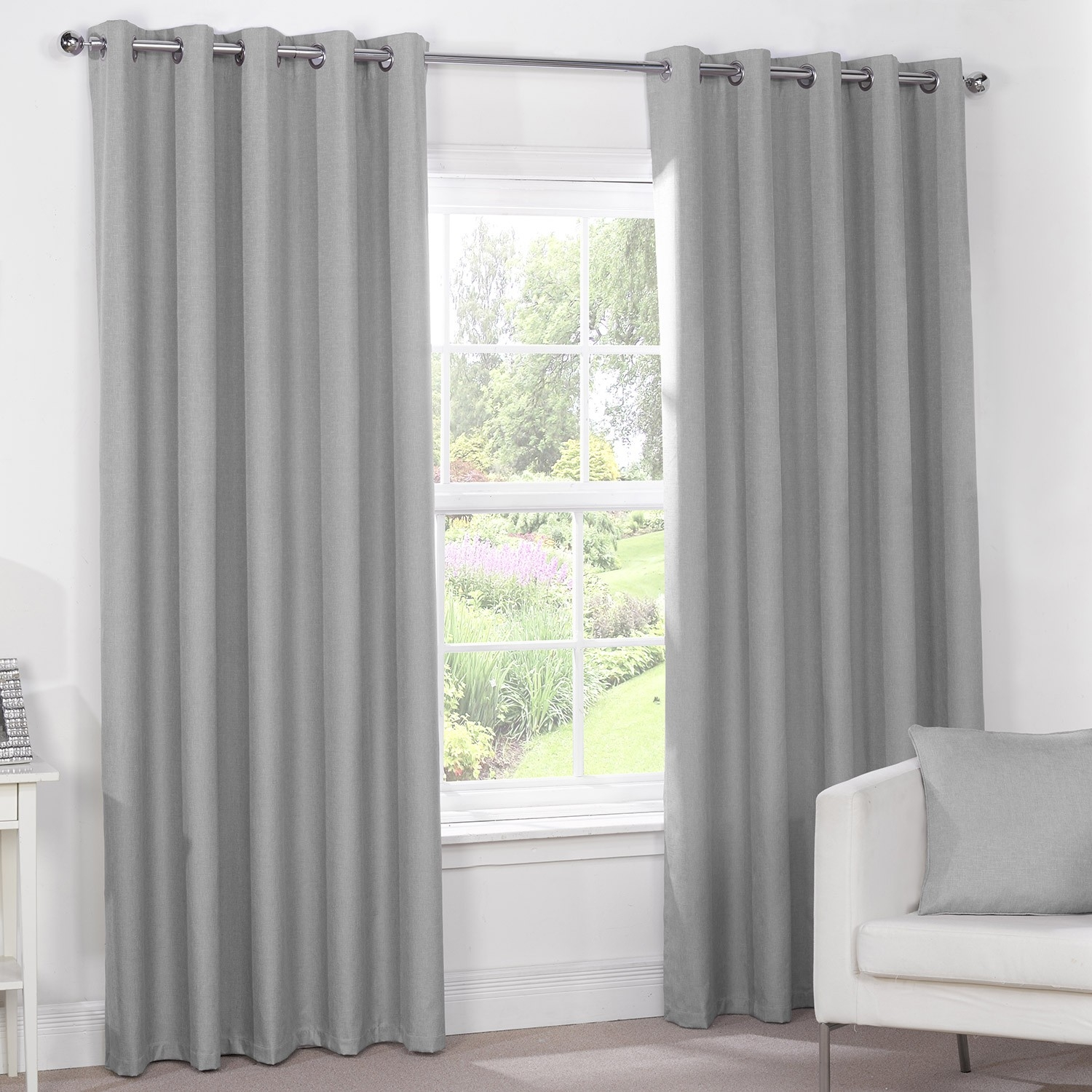 Luna Silver Grey Luxury Blackout Eyelet Curtains Pair Julian Throughout Grey Eyelet Curtains (Image 15 of 25)