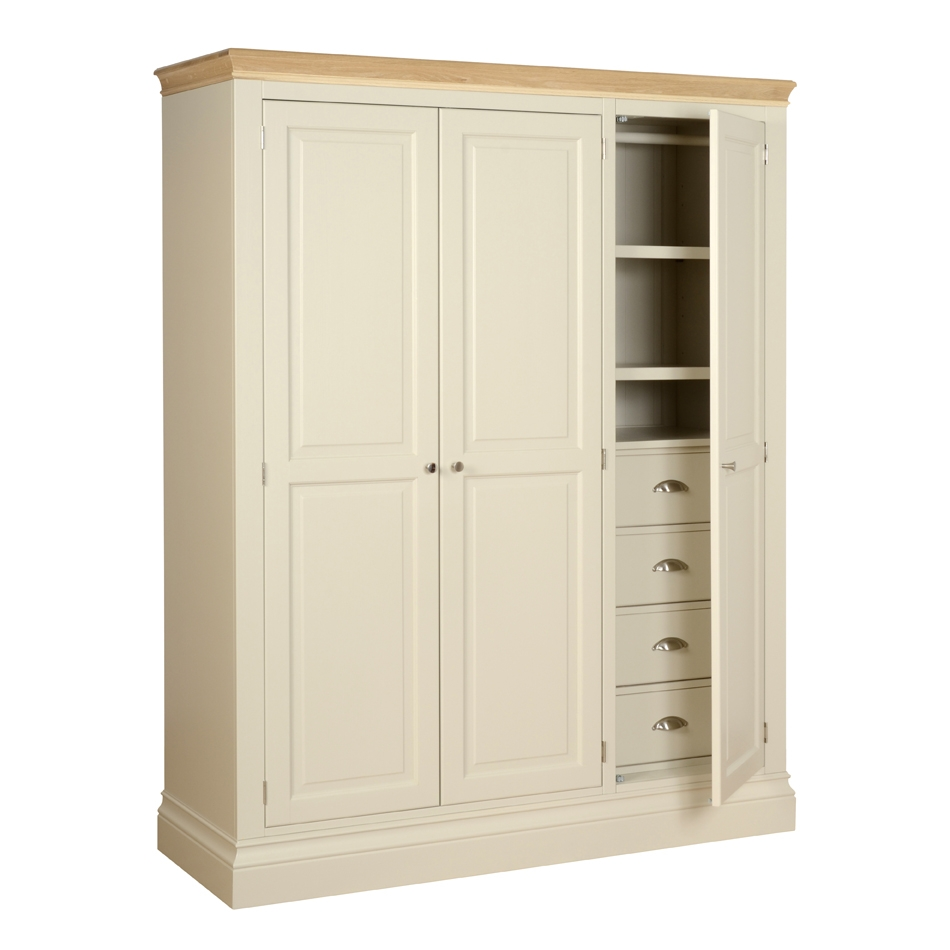 Lundy Painted Oak Ladies Triple Wardrobe With Shelvesdrawers For Wardrobe With Shelves And Drawers (Image 10 of 15)