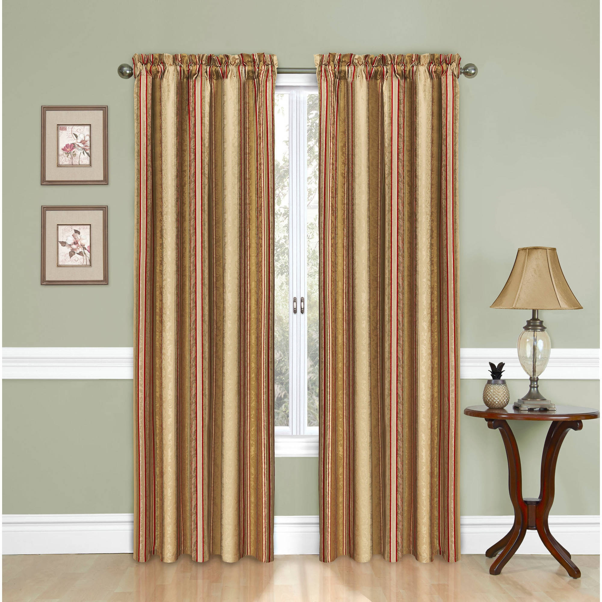Lush Decor Stripe Blackout Window Curtain Pair Walmart With Regard To Stripe Curtains (Image 17 of 25)