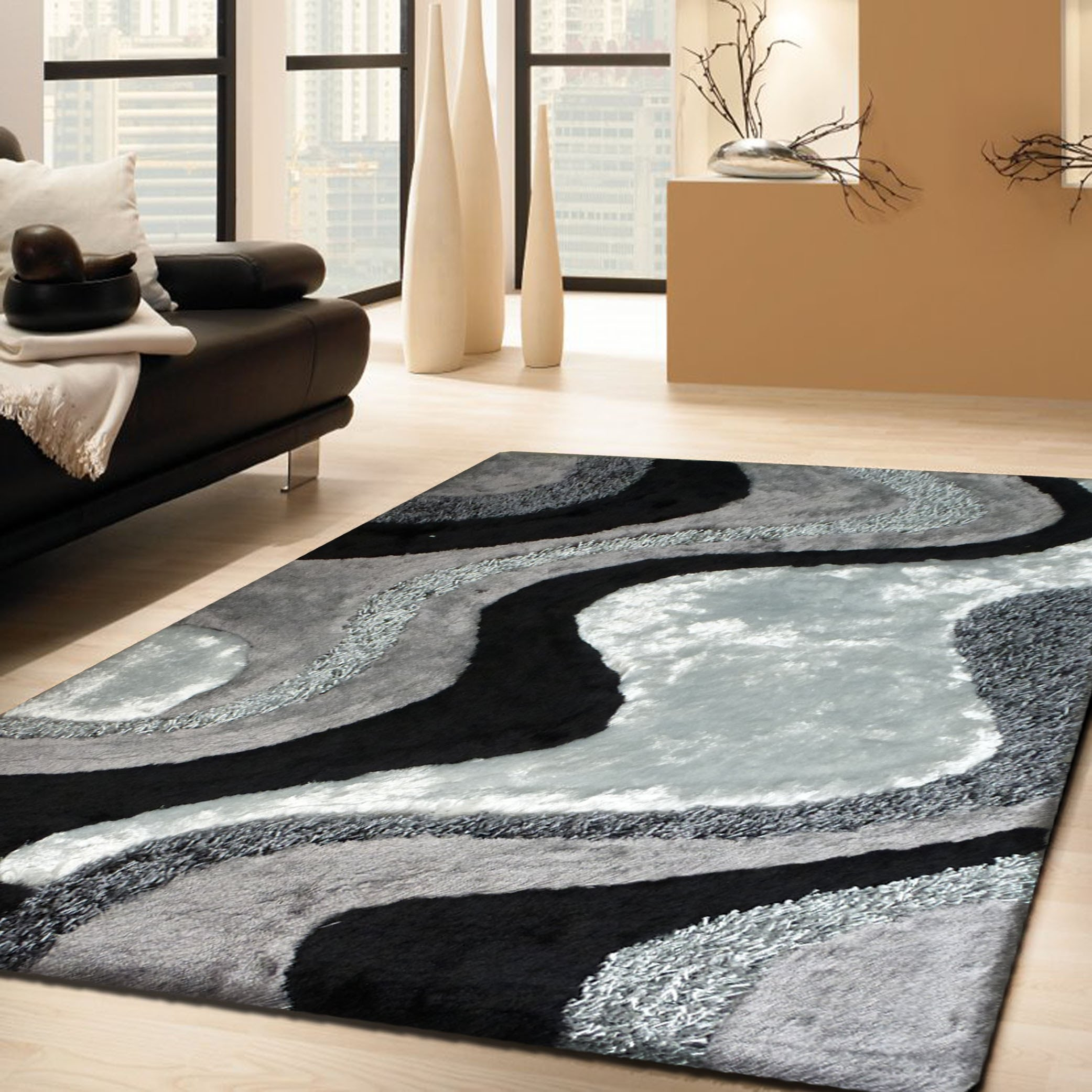 Luxurious Handmade Area Rug For Indoor Living Room In Grey With Pertaining To Cream And Black Carpets (Image 14 of 15)