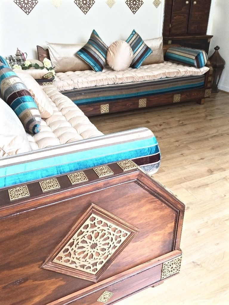 Luxurious Moroccan Sofa Couch Corner Suite Majlis Bench Daybed Inside Moroccan  Floor Seating Furniture