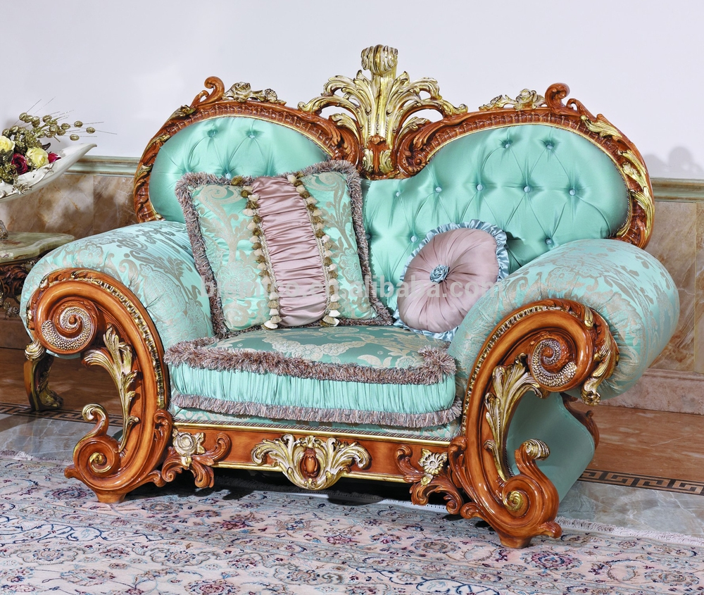 Luxury French Baroque Style Living Room Blue Sofa Setfancy Palace Pertaining To Fancy Sofas (Image 6 of 15)