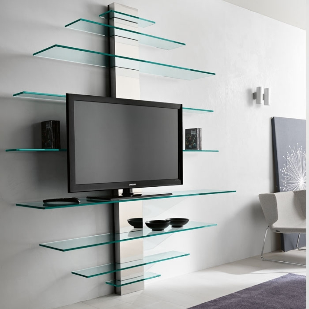 Luxury Glass Tv Shelves Wall Mount 71 For Your Wall Mounted Glass With Regard To Wall Mounted Glass Display Shelves (Image 7 of 15)