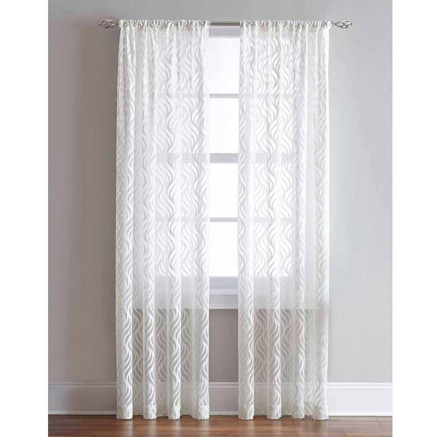 Lyric Rod Pocket Sheer Curtain Panel Walmart Pertaining To Sheer White Curtain Panels (Image 12 of 25)