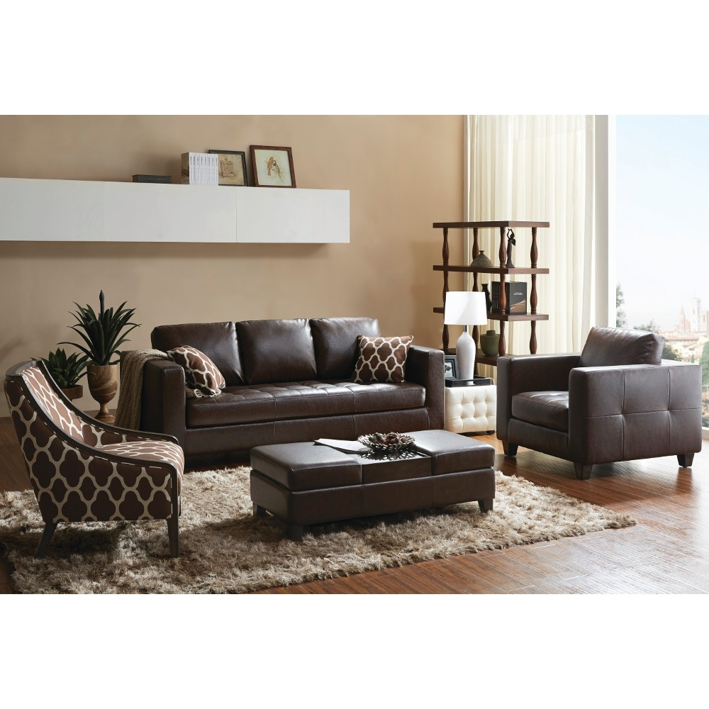 Madison Living Room Sofa Arm Chair Accent Chair Ottoman Intended For Brown Sofa Chairs (Image 13 of 15)