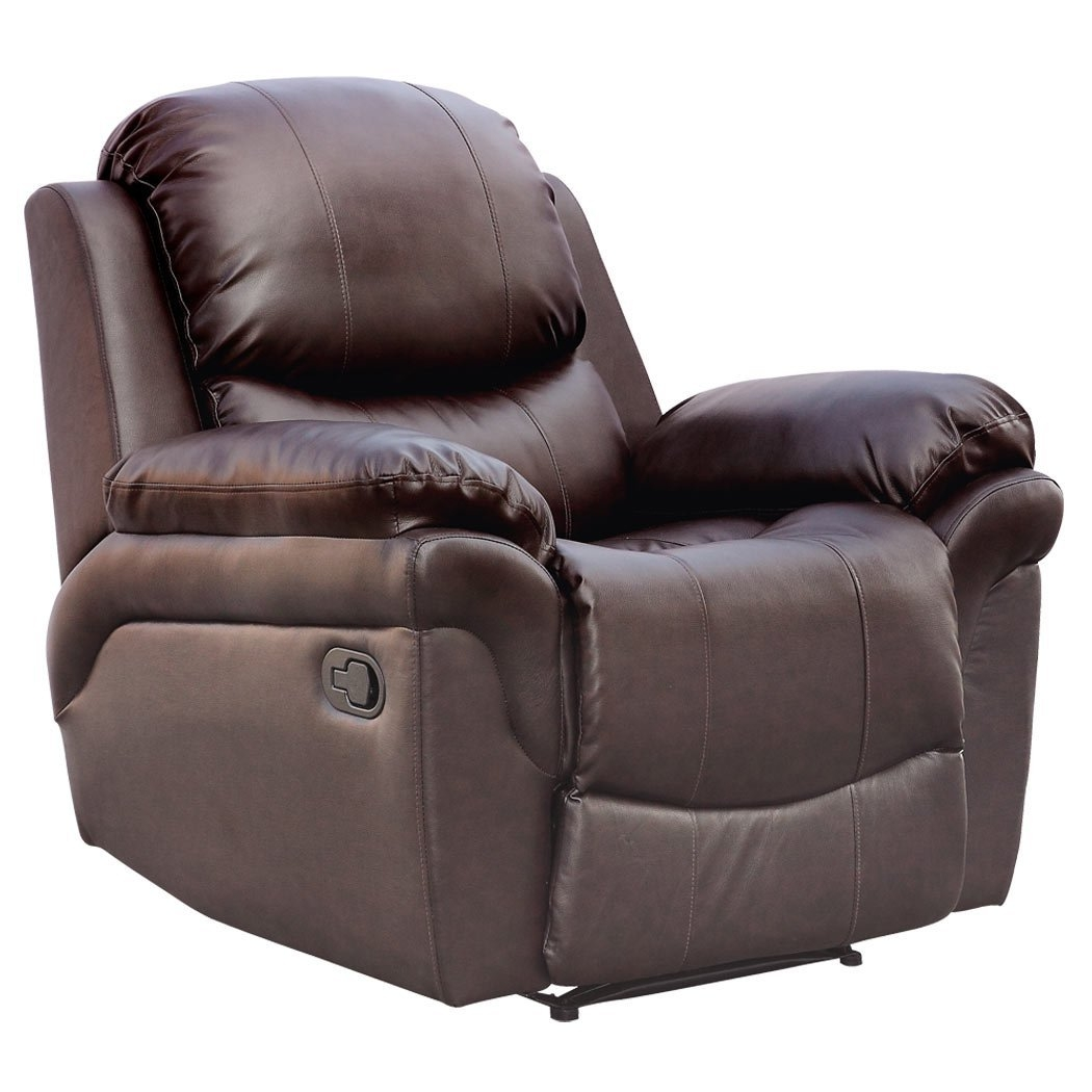 Madison Real Leather Recliner Armchair Sofa Home Lounge Chair Throughout Sofa Chair Recliner (Image 9 of 15)