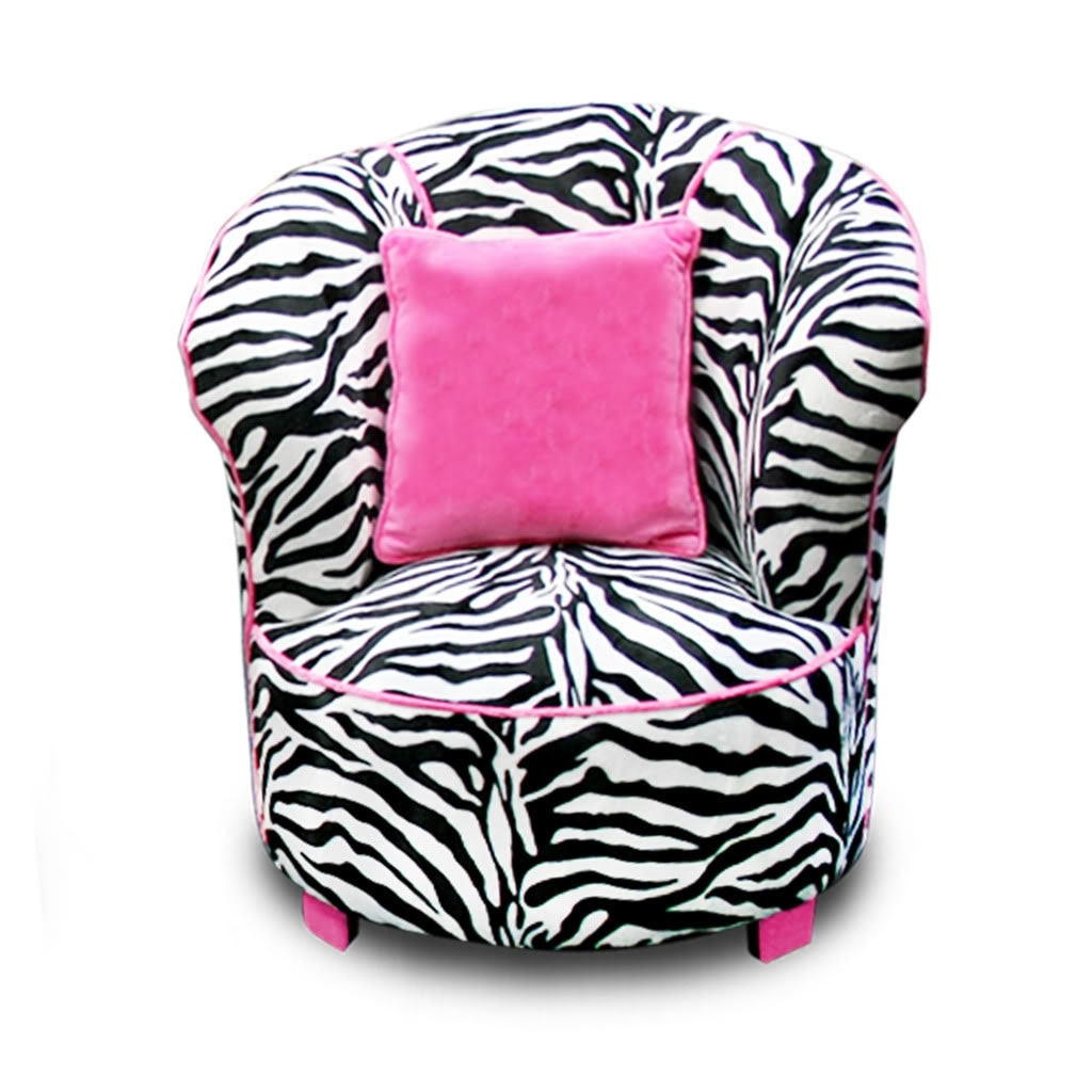 Magical Harmony Kids Minky Zebra Tulip Chair Free Shipping Today Intended For Kids Sofa Chair And Ottoman Set Zebra (View 13 of 15)