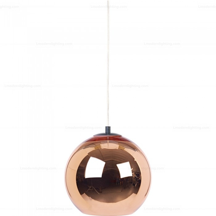 Magnificent Best Ball Pendant Lighting Pertaining To Mirror Glass Copper Shade Ball Pendant Light D (Image 16 of 25)