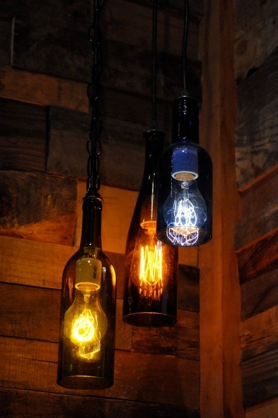 Magnificent Best Recycled Glass Pendant Lights Pertaining To Hand Made Recycled Glass Wine Bottle Pendant Lamp With Edison (Image 18 of 25)