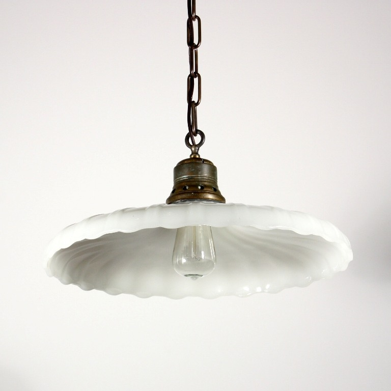 Magnificent Brand New Milk Glass Light Fixtures Intended For Beautiful Antique Industrial Light Fixture With Scalloped Milk (Image 17 of 25)